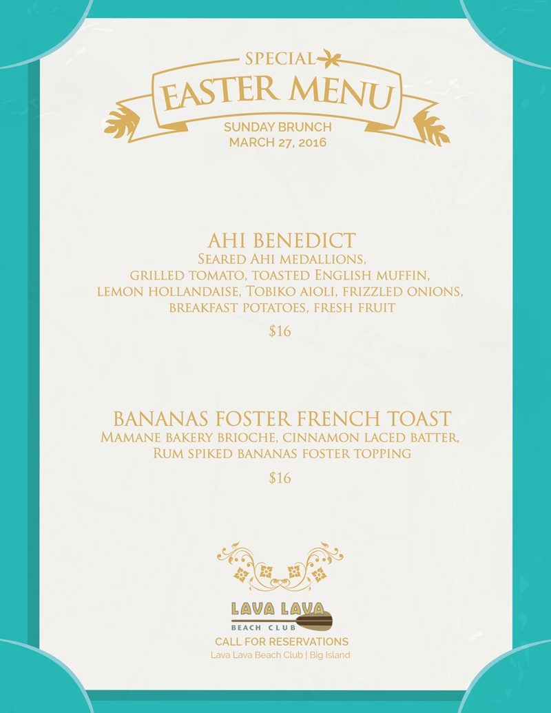 Easter at lava lava beach club in waikoloa lava lava for Easter brunch restaurant menus