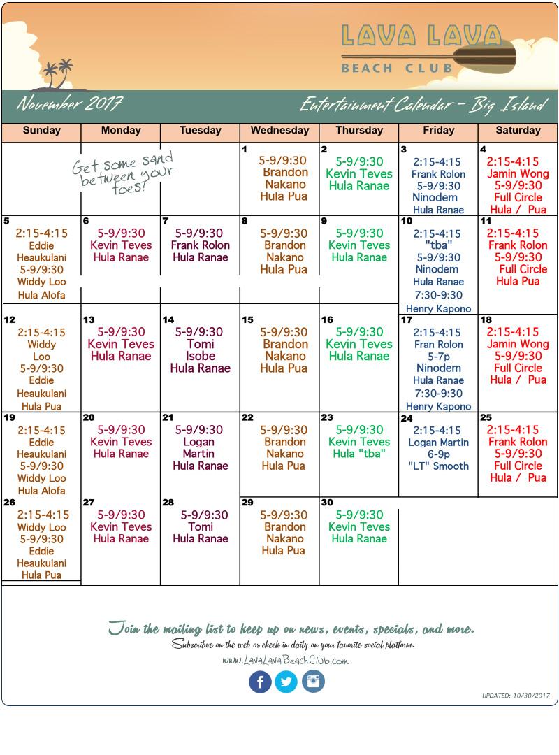 Entertainment Calendar Lava Lava Beach Club Big Island