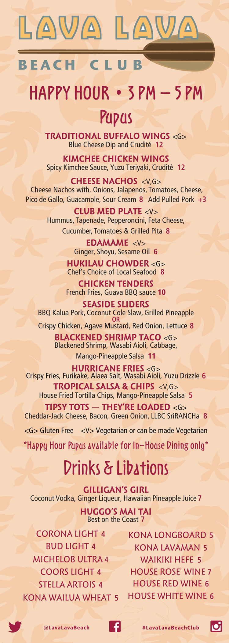 LLBC Big Island Happy Hour Menu 2018
